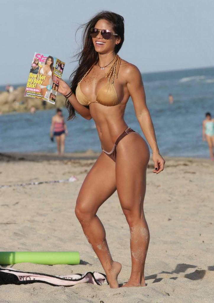 Michelle Lewin in Bikini at the Beach in Miami 12/28/2015-3