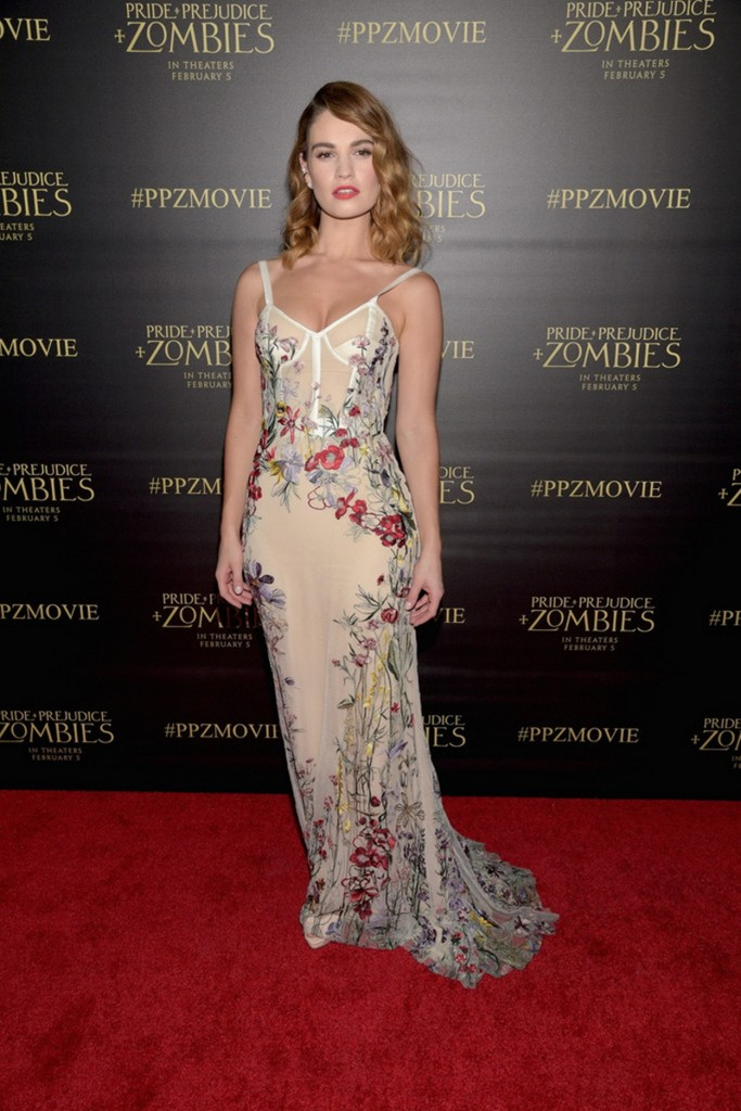 Lily James at Pride and Prejudice and Zombies Premiere in Los Angeles 01/21/2016-1