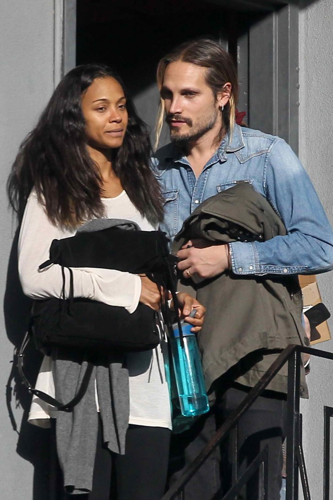 Zoe Saldana and Her Husband Marco Perego in Beverly Hills 01/13/2016-1