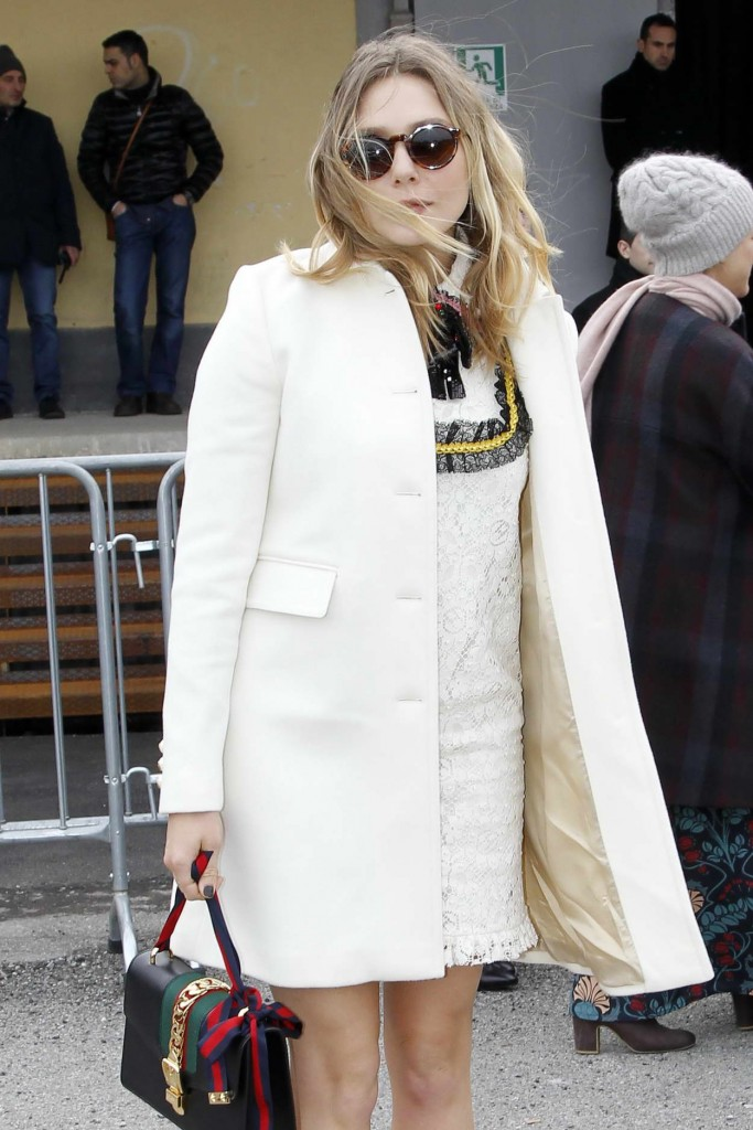 Elizabeth Olsen Arrives at the Gucci Show for Milan Fashion Week 02/24/2016-1
