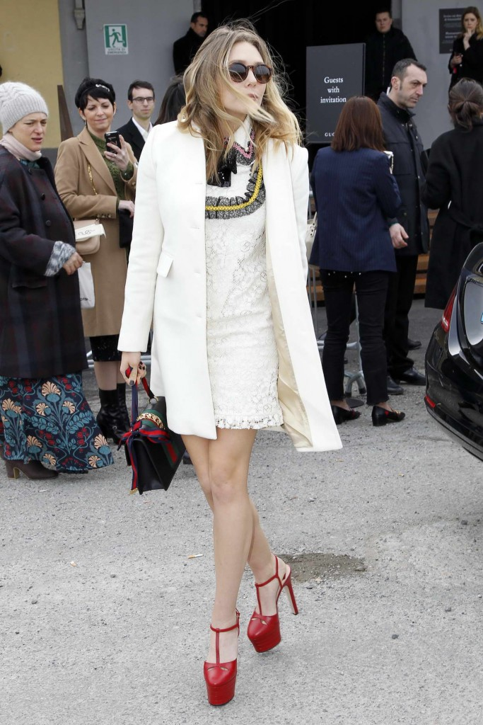 Elizabeth Olsen Arrives at the Gucci Show for Milan Fashion Week 02/24/2016-2