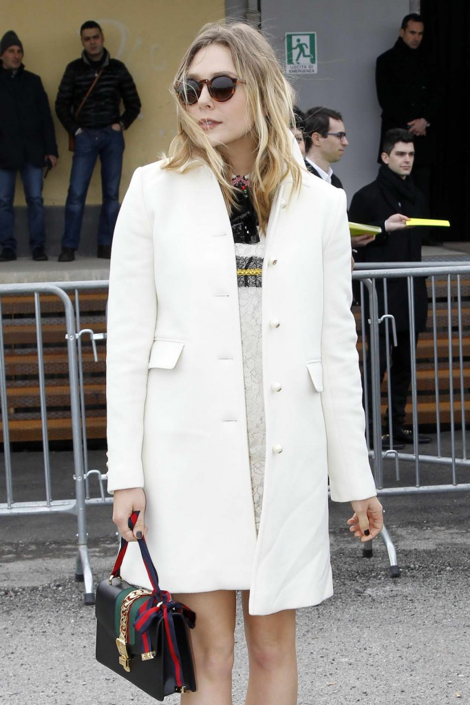 Elizabeth Olsen Arrives at the Gucci Show for Milan Fashion Week 02/24/2016-5