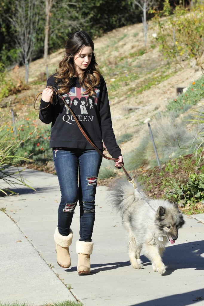 Laura Marano Walking Her Dog in Los Angeles 02/10/2016-1
