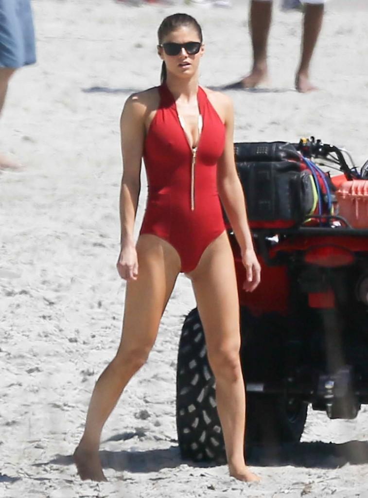Alexandra Daddario on the Set of Baywatch in Tybee Island 03/24/2016-1