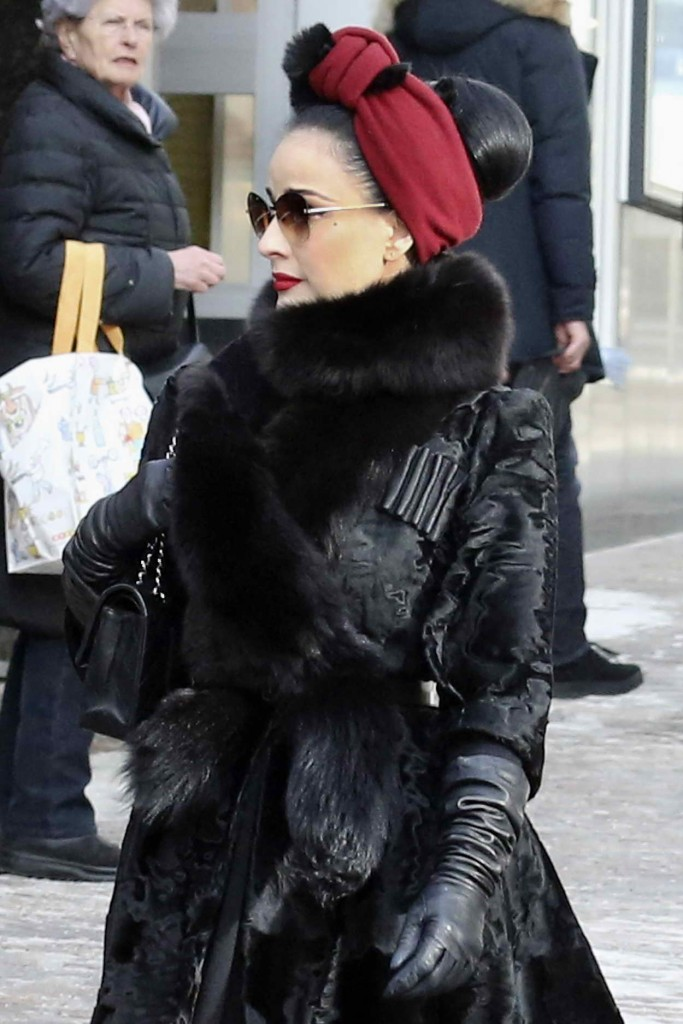 Dita Von Teese Shopping at the Valentino Store in St Moritz 03/09/2016-2