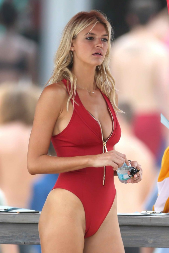 Kelly Rohrbach in Red Swimsuit on the Set of Baywatch in Boca Raton 03/04/2016-1