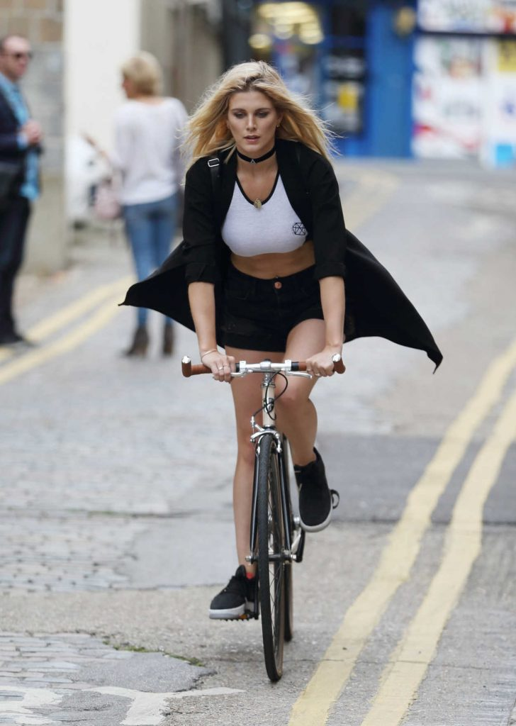 Ashley James Rides at Her Designer Bike in London 07/22/2016-1
