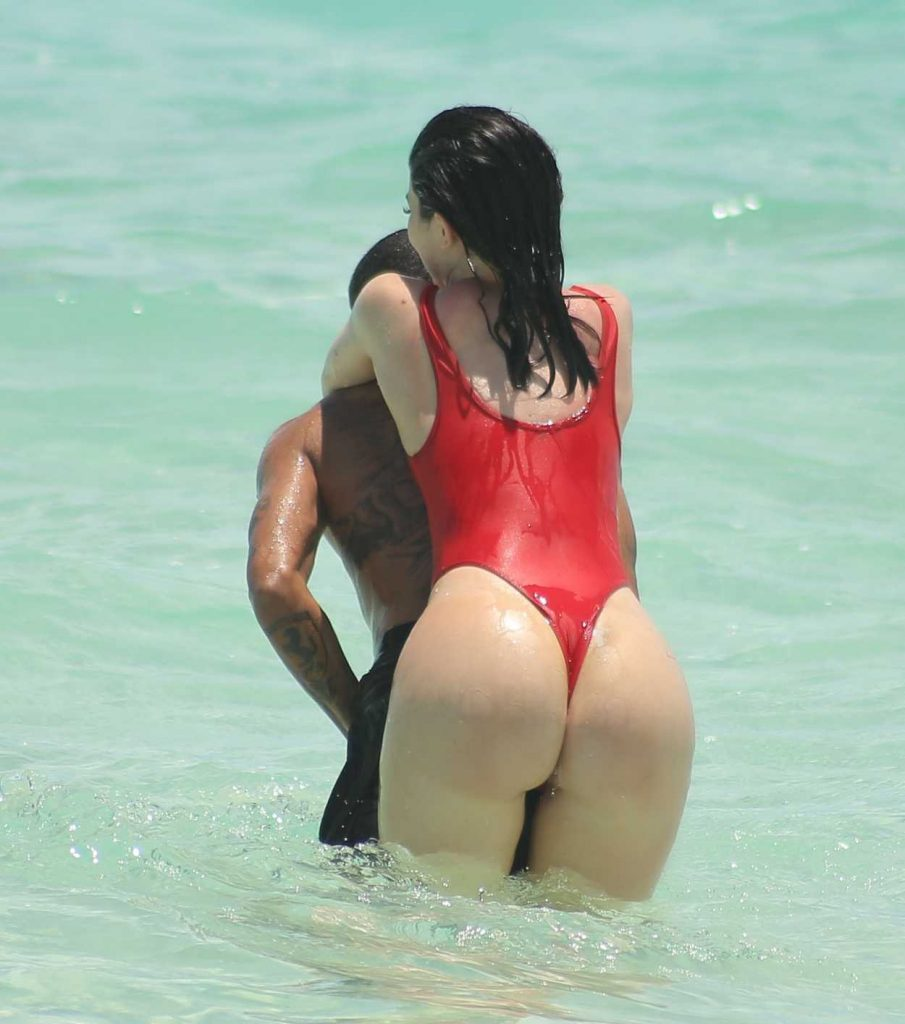 Kylie Jenner in a Red Swimsuit at the Beach in Turks and Caicos 08/12/2016-2