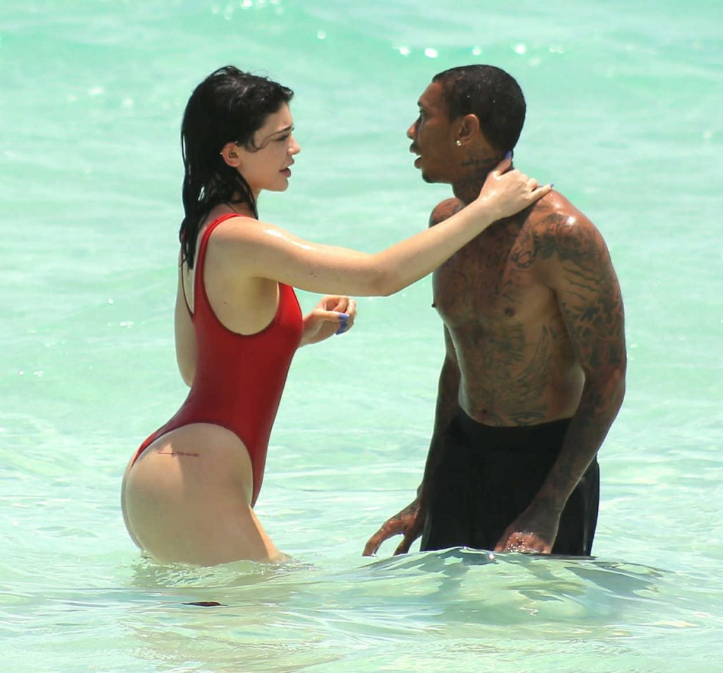 Kylie Jenner in a Red Swimsuit at the Beach in Turks and Caicos 08/12/2016-3