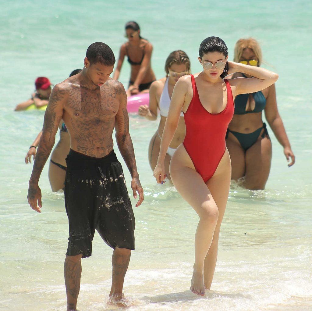Kylie Jenner in a Red Swimsuit at the Beach in Turks and Caicos 08/12/2016-5