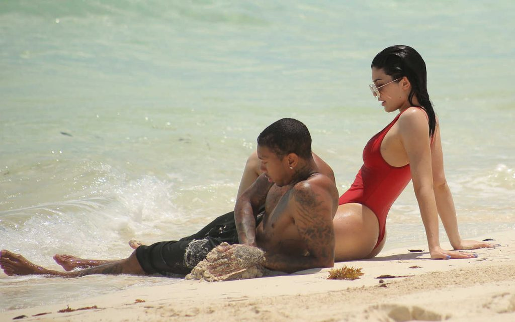 Kylie Jenner in a Red Swimsuit at the Beach in Turks and Caicos 08/12/2016-6