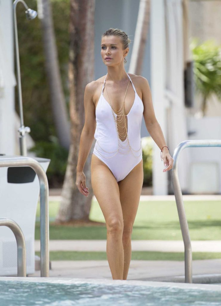 Joanna Krupa in a White Swimsuit by the pool in Miami 10/18/2016-1