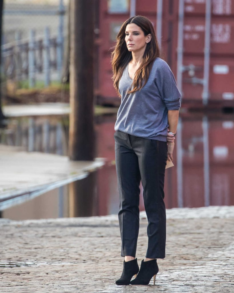 Sandra Bullock on the Set of Ocean 8 in Brooklyn 10/21/2016-1