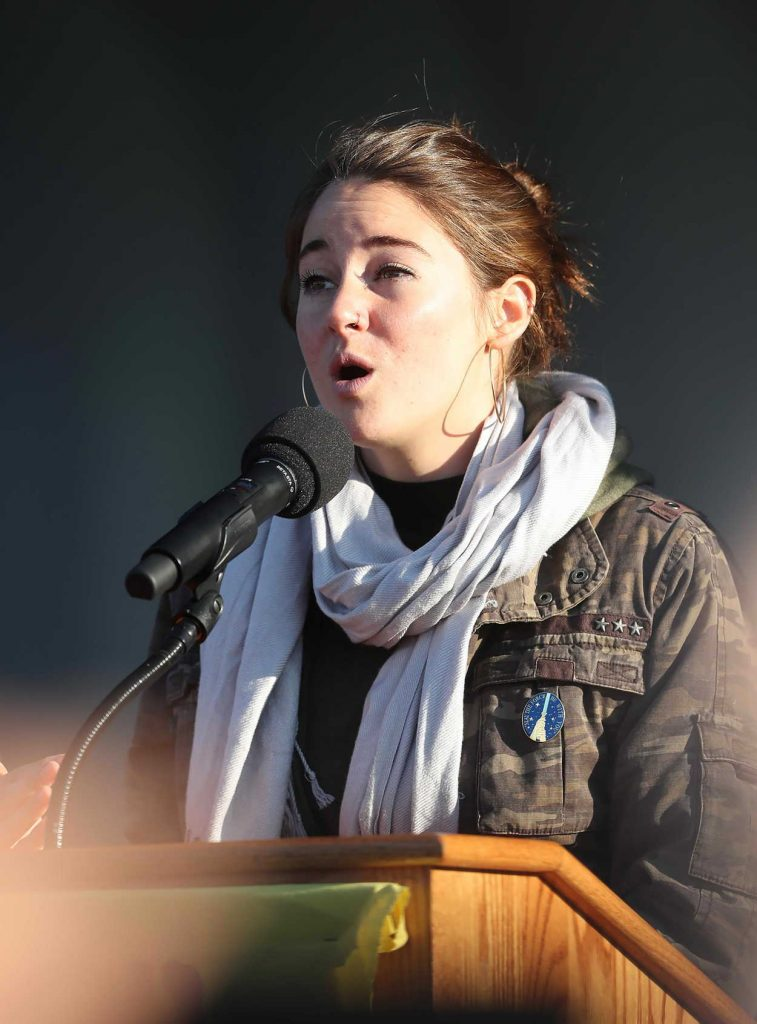 Shailene Woodley at the March on Blocking The Dakota Access Pipeline in Washington 11/27/2016-1