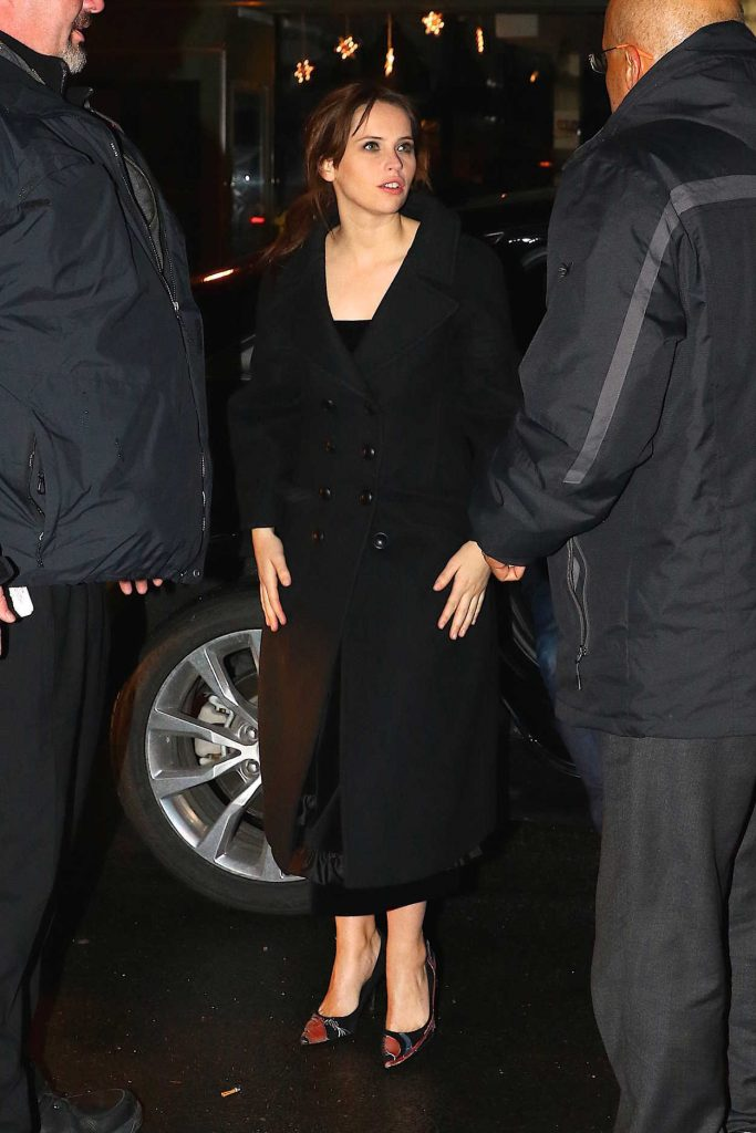 Felicity Jones Arrives for a Post SNL Show Celebration in New York 01/14/2017-1
