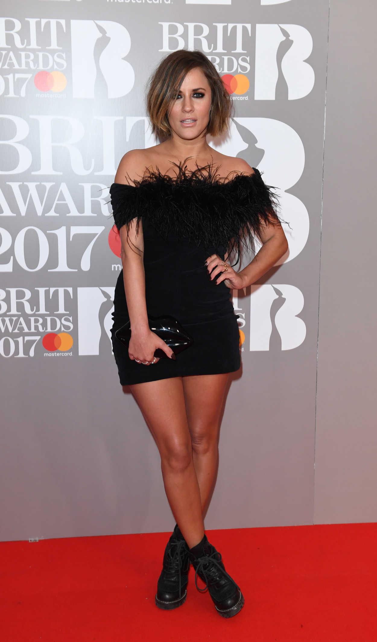 Caroline Flack at the Brit Awards at O2 Arena in London 02 ...