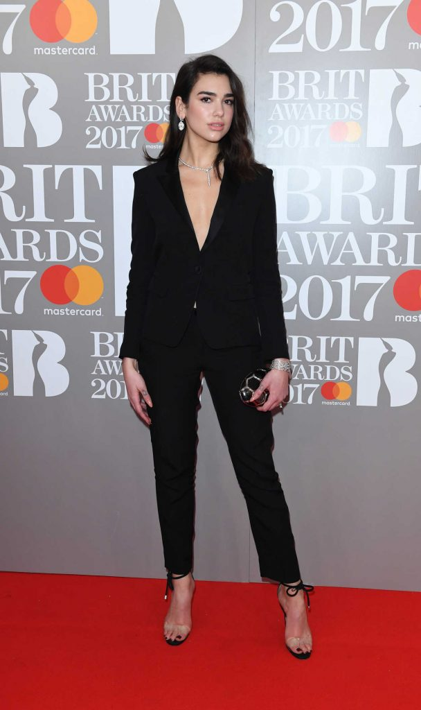 Dua Lipa at the Brit Awards at O2 Arena in London 02/22/2017-1