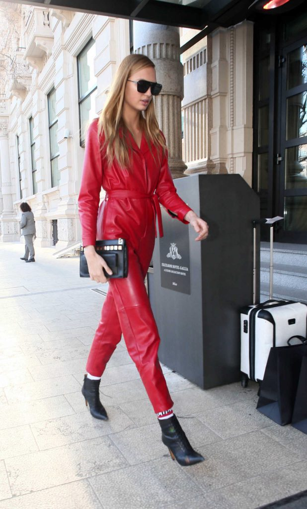 Romee Strijd Arrives to the Grand Hotel Gallia in Milan 02/25/2017-3