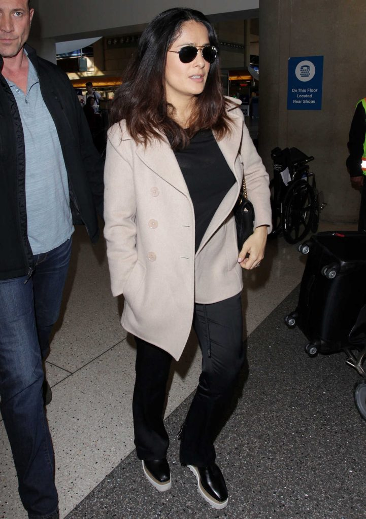 Salma Hayek at LAX Airport in Los Angeles 01/30/2017-3