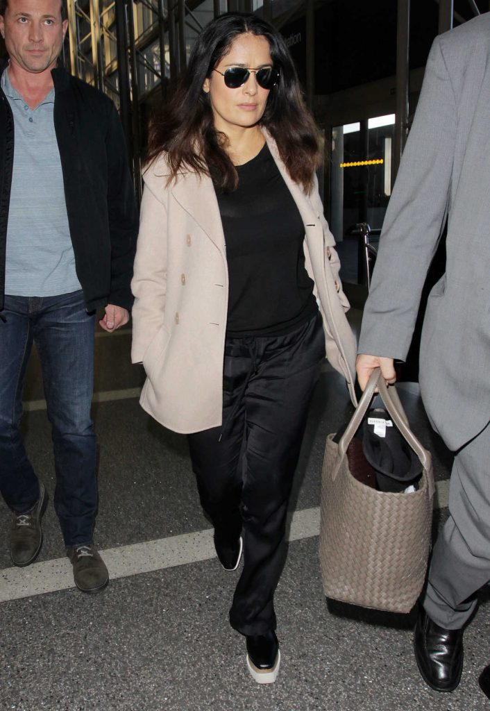 Salma Hayek at LAX Airport in Los Angeles 01/30/2017-4