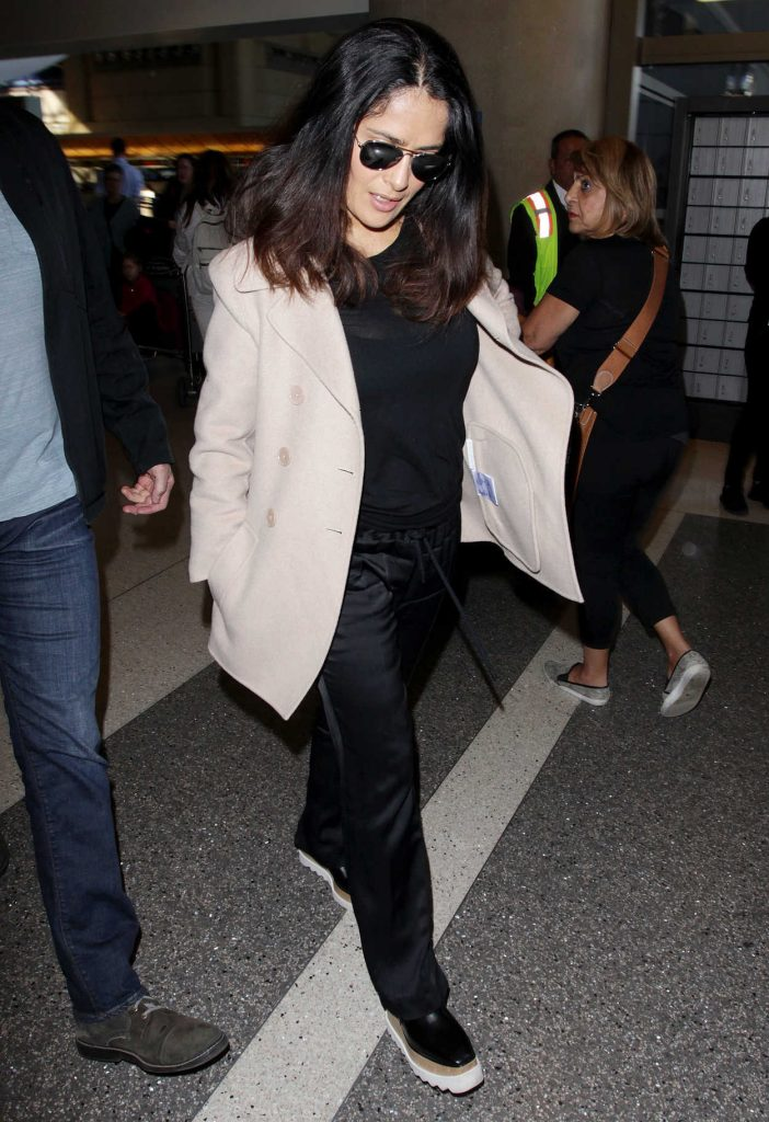 Salma Hayek at LAX Airport in Los Angeles 01/30/2017-5