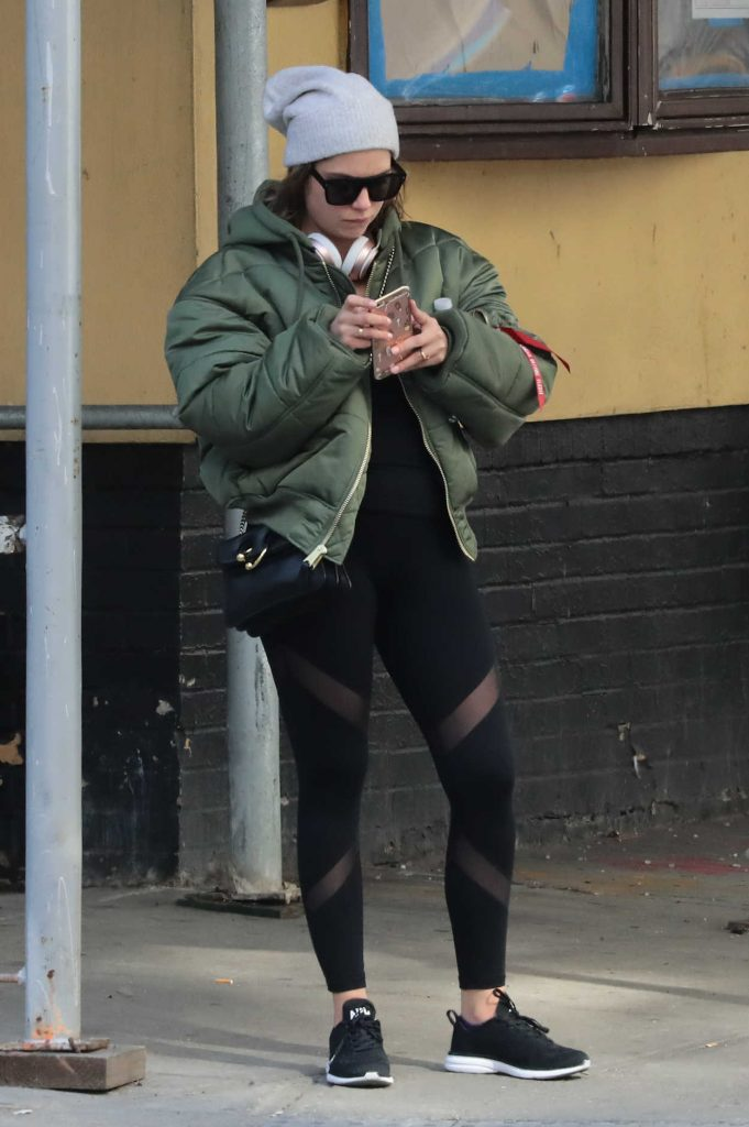 Ashley Benson Wearing a Black Tights in New York 02/28/2017-1