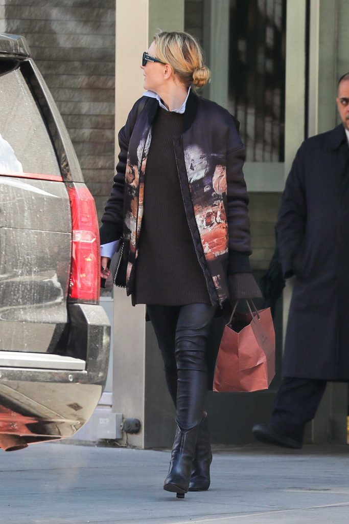 Cate Blanchett Wears Leather Pants Out in New York 03/18/2017-3