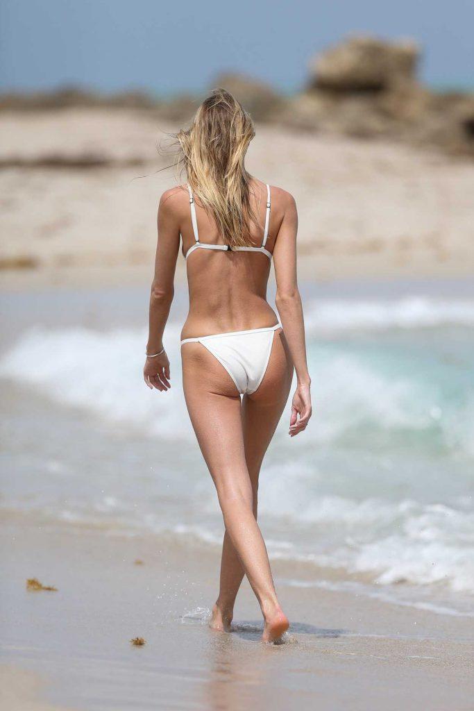 Martha Hunt Wears a Tiny White Bikini at the Beach in Miami 03/25/2017-5