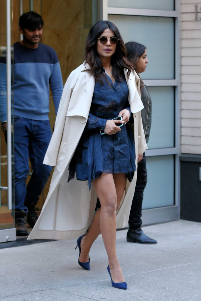 Priyanka Chopra Wears a Little Blue Dress Out in New York City 03/13/2017-1