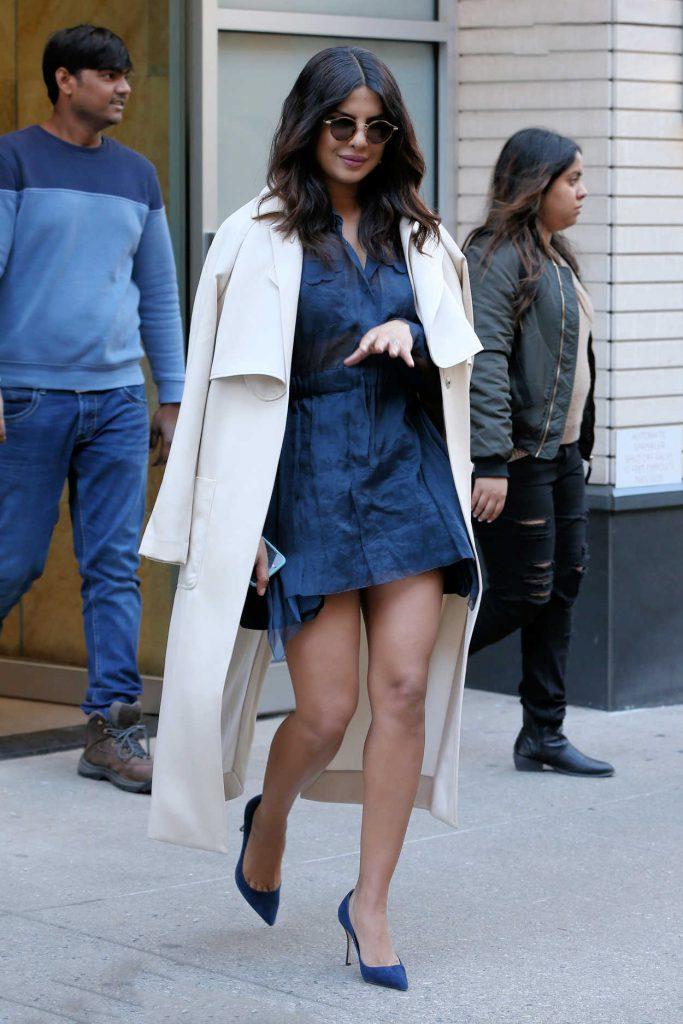 Priyanka Chopra Wears a Little Blue Dress Out in New York City 03/13/2017-3