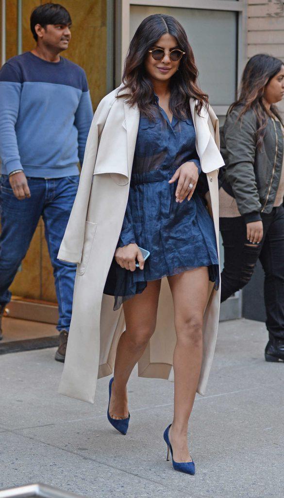 Priyanka Chopra Wears a Little Blue Dress Out in New York City 03/13/2017-4