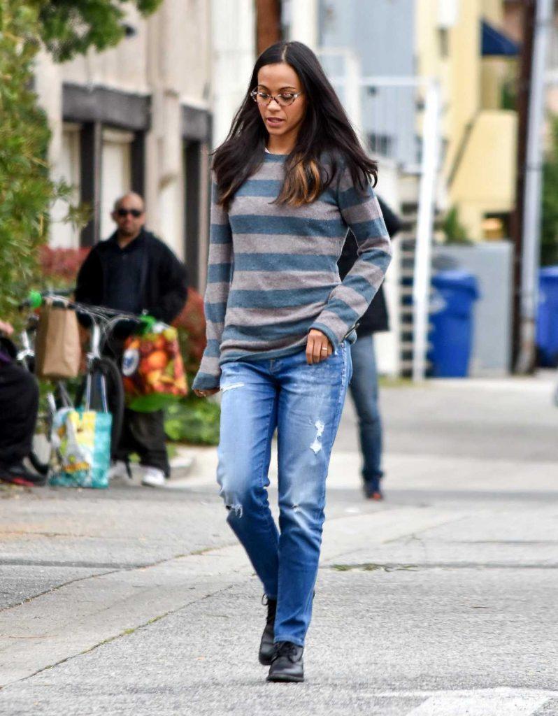 Zoe Saldana Wears a Striped Sweater Out in Los Angeles 02/28/2017-1
