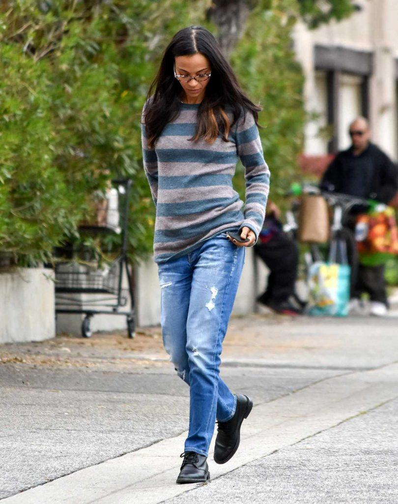 Zoe Saldana Wears a Striped Sweater Out in Los Angeles 02/28/2017-2