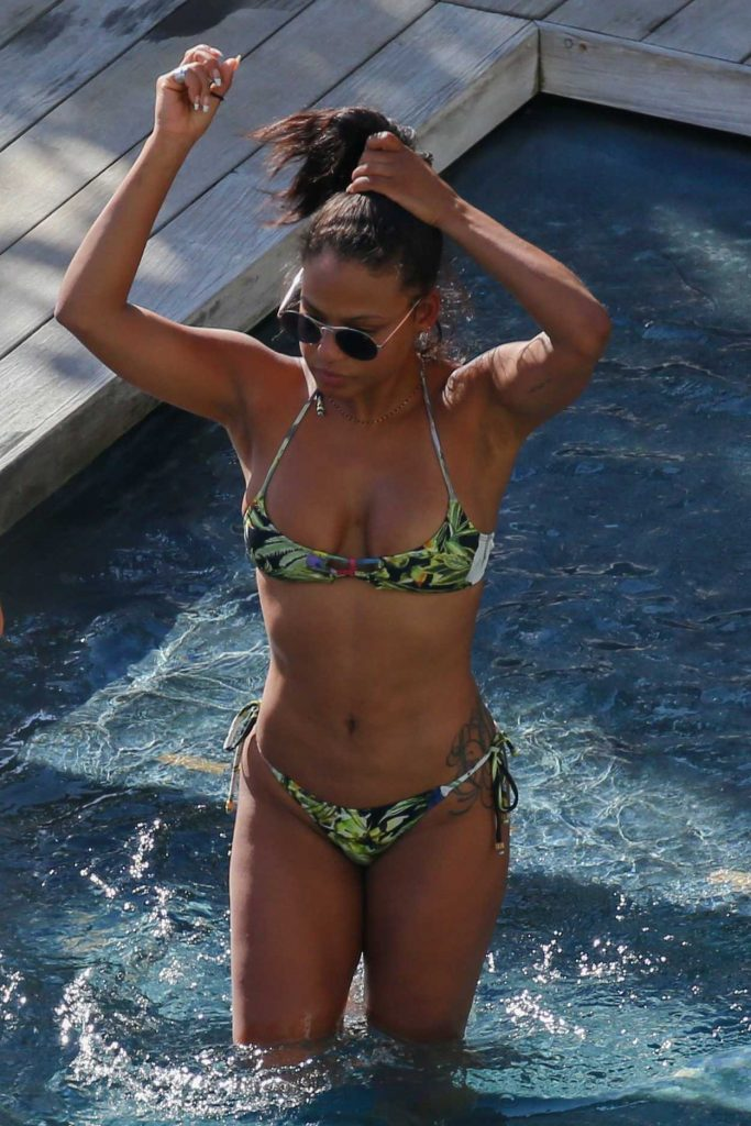 Christina Milian Wears a Bikini at a Pool in Hawaii 03/31/2017-1