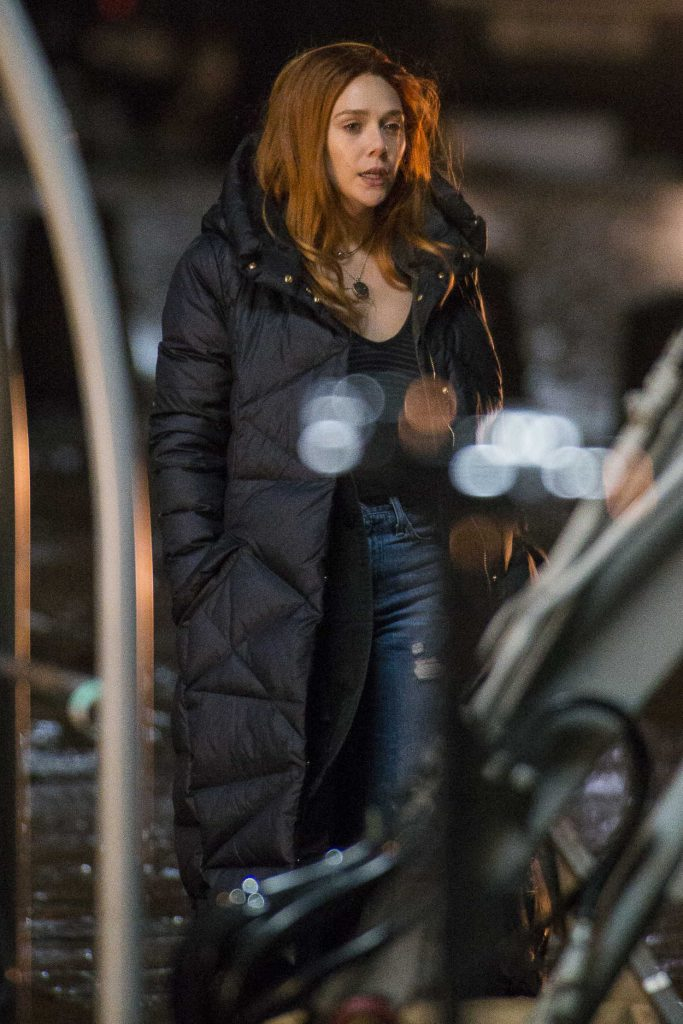 Elizabeth Olsen on the Set of Marvel's Avengers: Infinity War in Edinburgh 04/05/2017-1