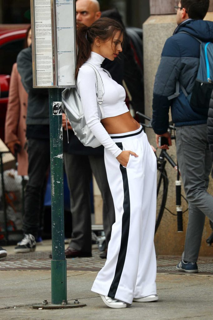 Emily Ratajkowski Shoots for DKNY in Soho 04/24/2017-2