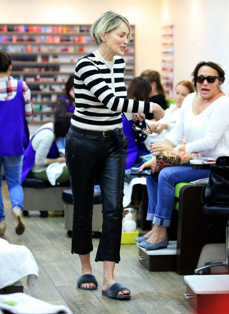 Sharon Stone at a Nail Salon in Beverly Hills 03/31/2017-1