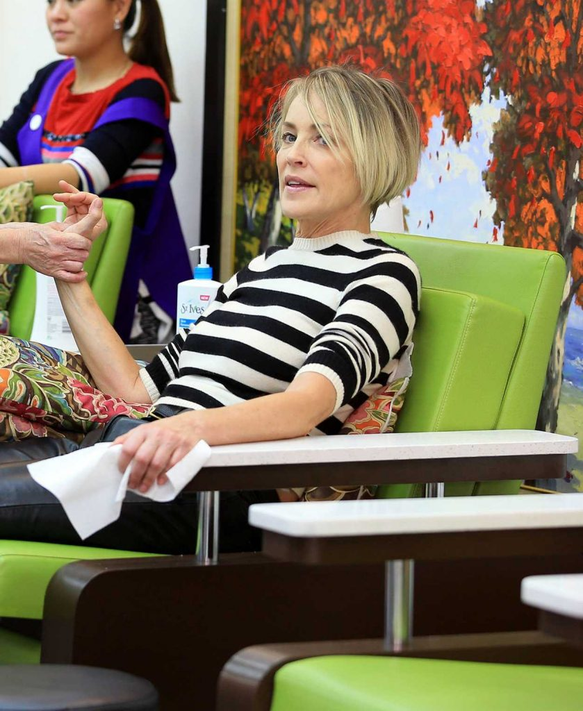 Sharon Stone at a Nail Salon in Beverly Hills 03/31/2017-2