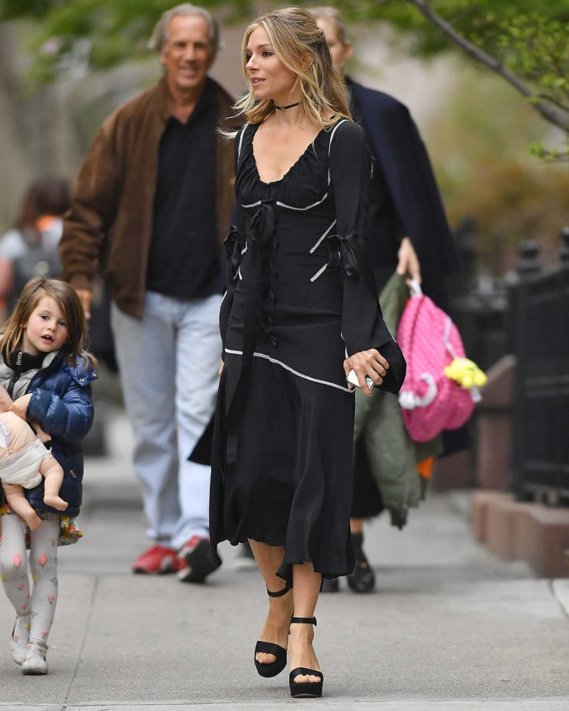 Sienna Miller Wears a Black Dress Out in New York City 04/19/2017-2