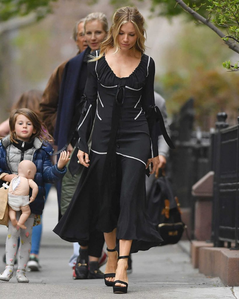 Sienna Miller Wears a Black Dress Out in New York City 04/19/2017-3