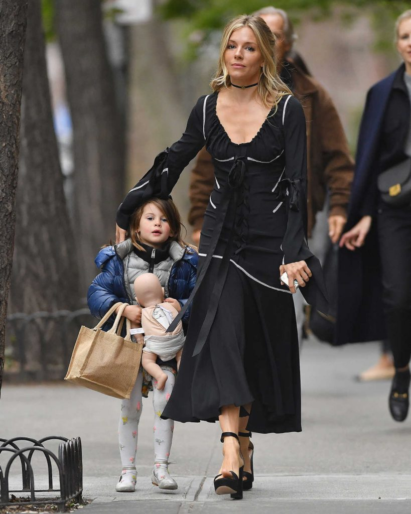 Sienna Miller Wears a Black Dress Out in New York City 04/19/2017-4