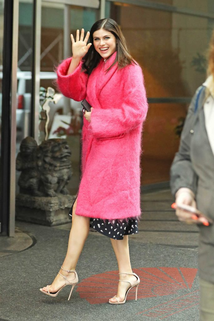 Alexandra Daddario Wears a Pink Fur Coat Out in New York 05/22/2017-1