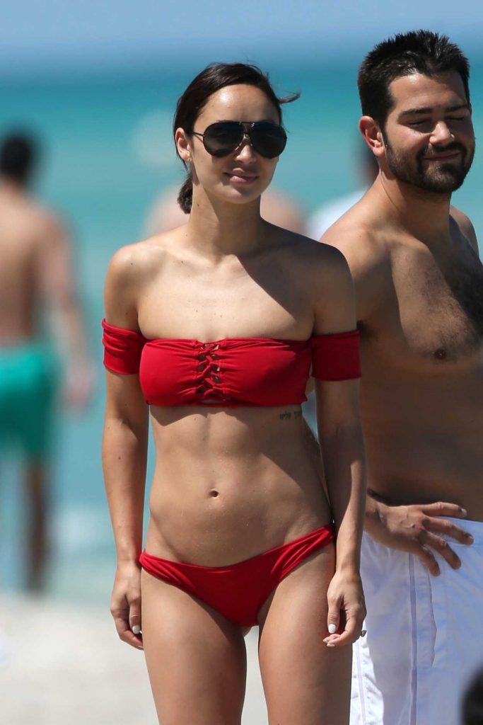 Cara Santana in a Red Bikini at the Beach in Miami 05/08/2017-2
