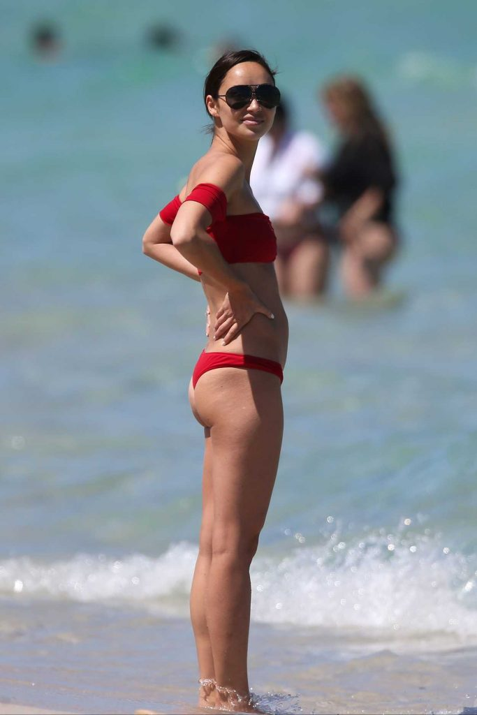 Cara Santana in a Red Bikini at the Beach in Miami 05/08/2017-3