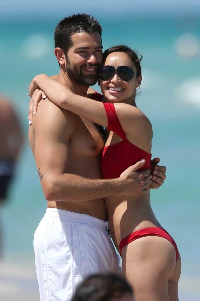 Cara Santana in a Red Bikini at the Beach in Miami 05/08/2017-5