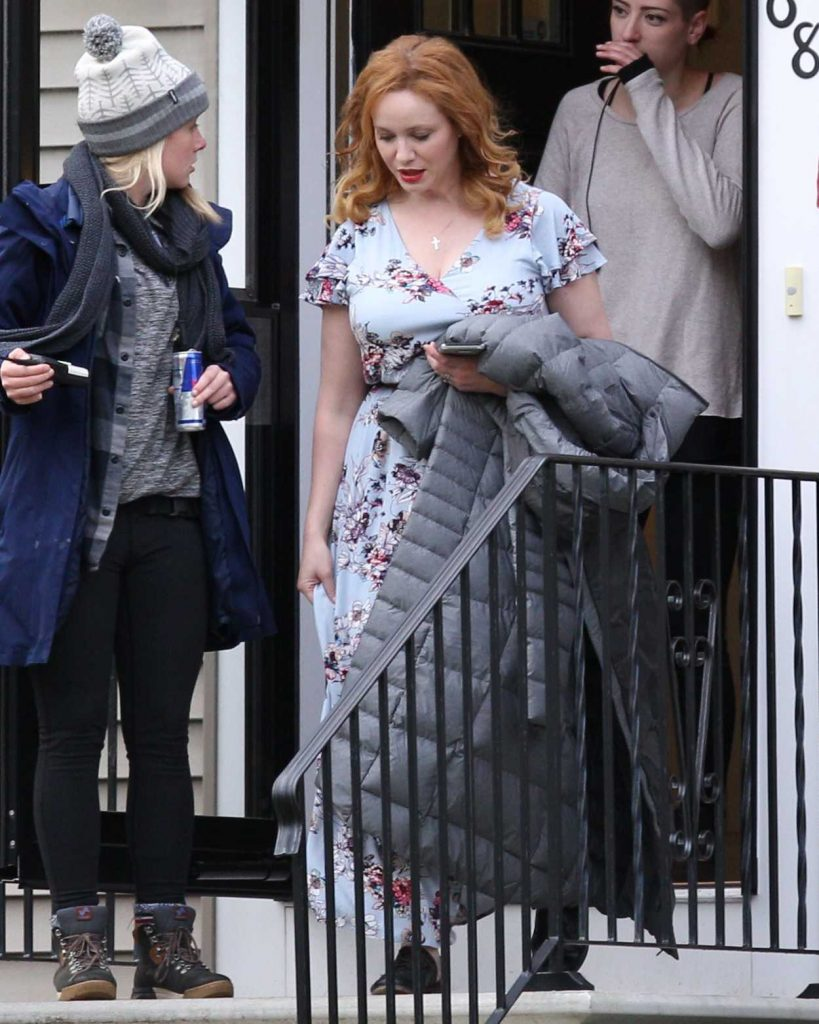 Christina Hendricks on the Set of The Burning Woman in Brockton 05/08/2017-1