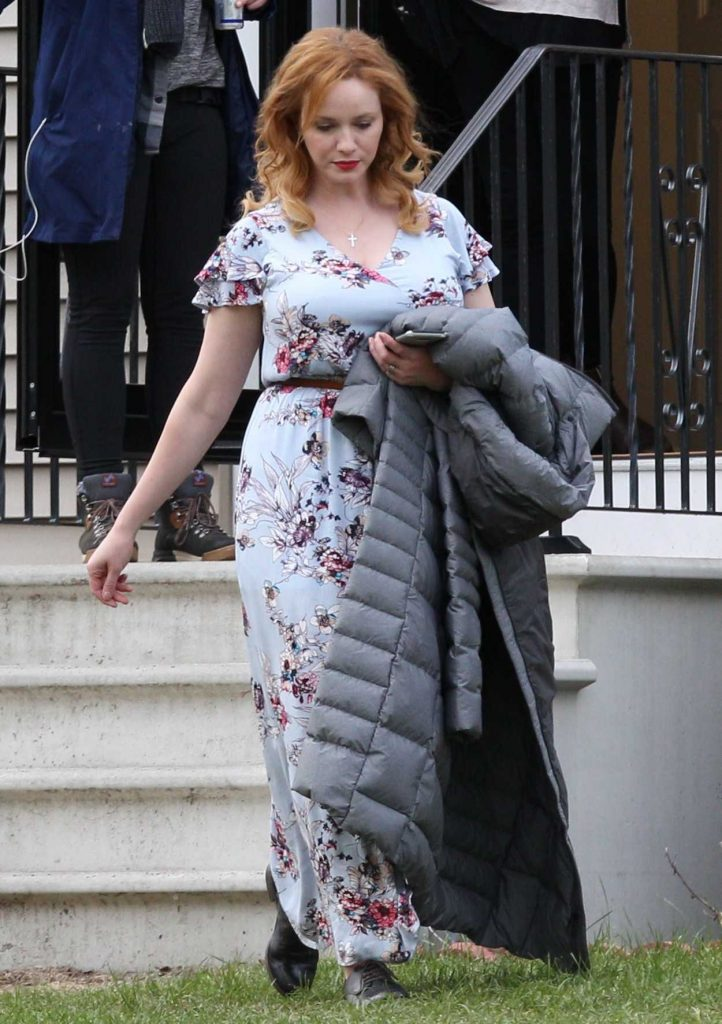 Christina Hendricks on the Set of The Burning Woman in Brockton 05/08/2017-3