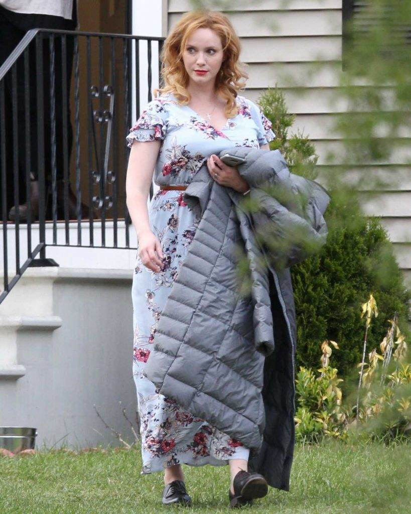 Christina Hendricks on the Set of The Burning Woman in Brockton 05/08/2017-5