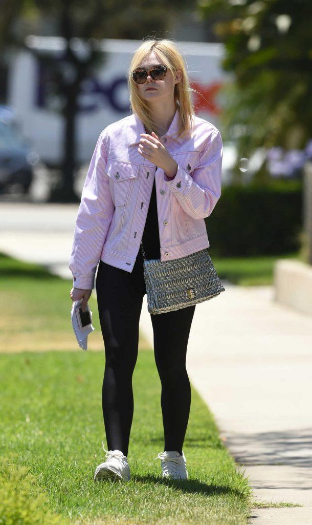 Elle Fanning Wears a Pink Jacket Out in LA 06/13/2017-1