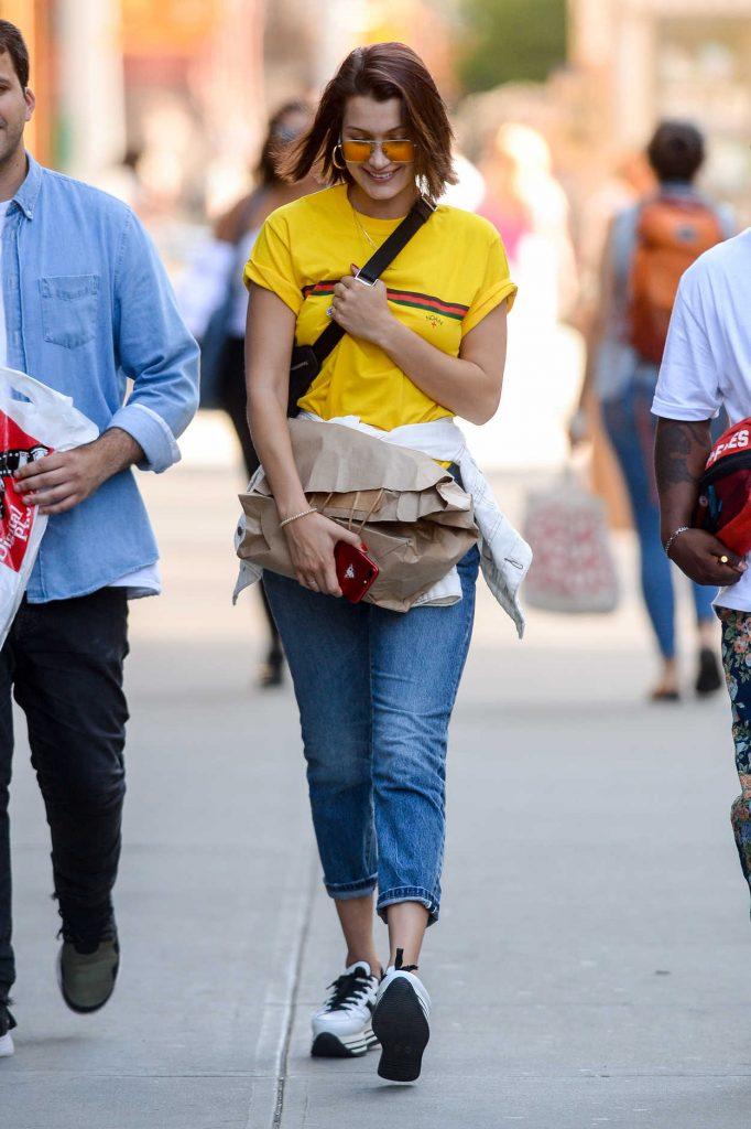 Bella Hadid Wears Yellow T-Shirt in downtown Manhattan in NYC 07/26/2017-1